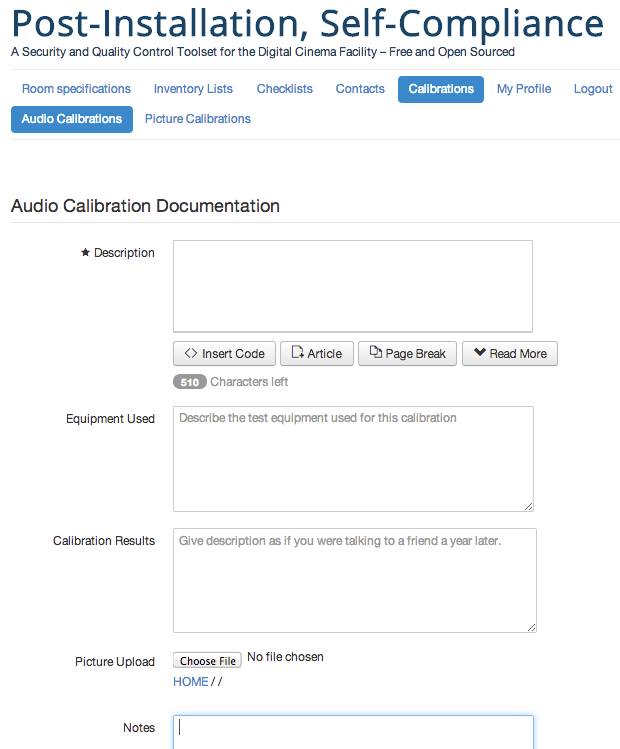 Sample View of Audio Calibration Repository
